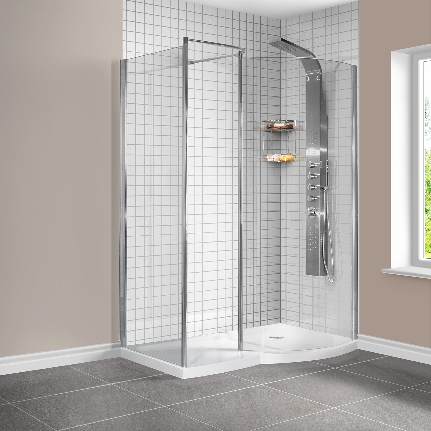 Curved Right Hand Walk In Shower Enclosure With Tray 1400 X 900mm 8mm Gl
