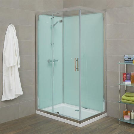 Rectangular Shower Cabin with Aqua White Back Panels - 1200 x 800mm