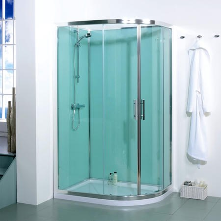 Offset Left Handed Shower Cabin with Aqua White Back Panels - 1200 x 900mm