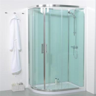 1200mm Offset Right Hand Quadrant Shower Cabin with Aqua White Back Panels-Cabin Standard with No Valve