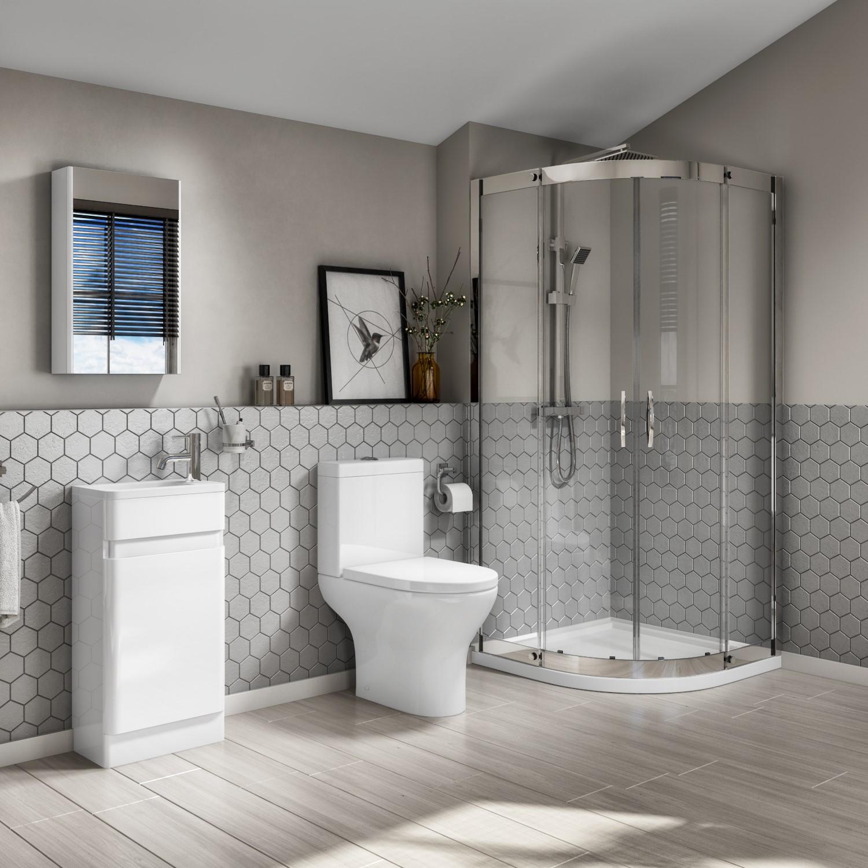 Plumbing Tools AquaFloe Iris 900 x 900 Shower Cubicle with Portland Close Coupled & 410 Floorstanding White Gloss Vanity Unit
