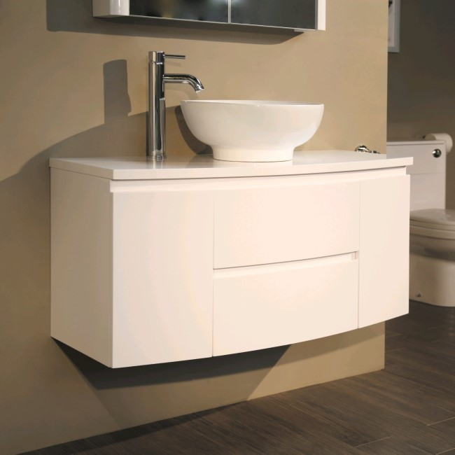 1010mm Wall Hung Vanity Unit with Pacific Countertop Basin - Door & Drawers - Voss Range