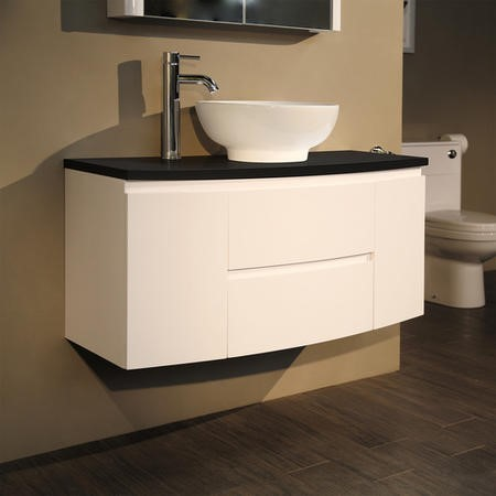 Voss 1010mm Wall Hung Vanity Unit with Oval Basin - Door & Drawer- Black Worktop