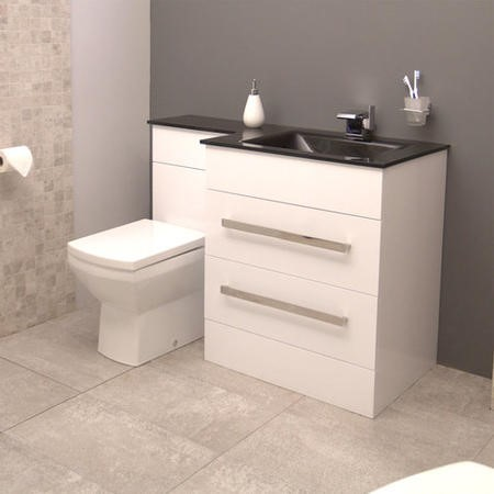Vigo Right Handed Combination Unit with Tabor Toilet - 2 Drawer Black Worktop Cabinet