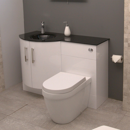 Bow Front Left Hand Combination Unit with Aurora Toilet - Vigo
