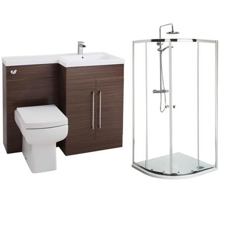 Moderno Right Hand Walnut Furniture Suite with 900mm Shower Enclosure Tray and Waste