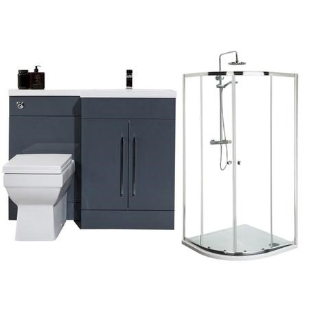 Moderno Right Hand Anthracite Furniture Suite with 900mm Shower Enclosure Tray and Waste