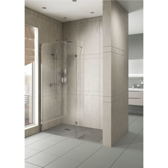 700mm Walk In Shower Screen with 300mm Hinged Return Screen - 8mm Glass