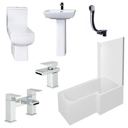 Delta Right Hand L Shaped 1700 Shower Bath Suite