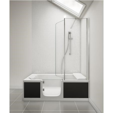 Kineduo Left Handed Walk-In Shower Bath with Screen and Black Panels 1700 x 750mm - Corner Installation