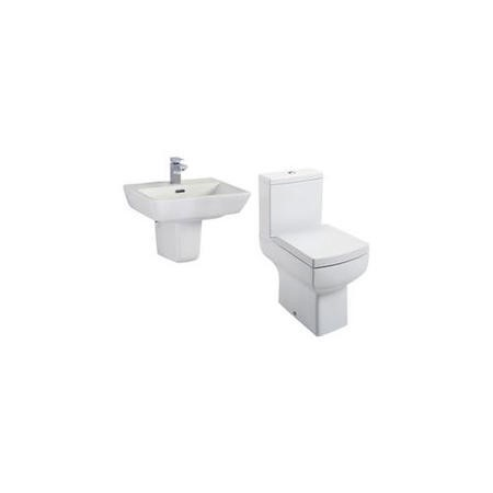Delta Semi Pedestal Toilet and Basin Suite