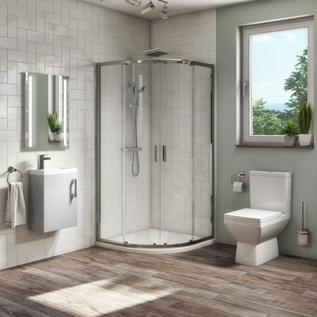 900mm Quadrant Shower Suite with Grey  400mm Wall Hung Vanity Unit  Toilet & Tray - Ashford