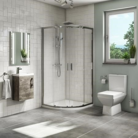 900mm Quadrant Shower Suite with Grey Wood 400mm Wall Hung Vanity Unit Toilet & Tray - Ashford