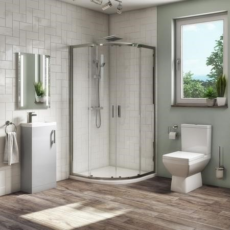 900 x 900 Quadrant Shower Suite with 400mm Grey Vanity Unit and Toilet - Ashford