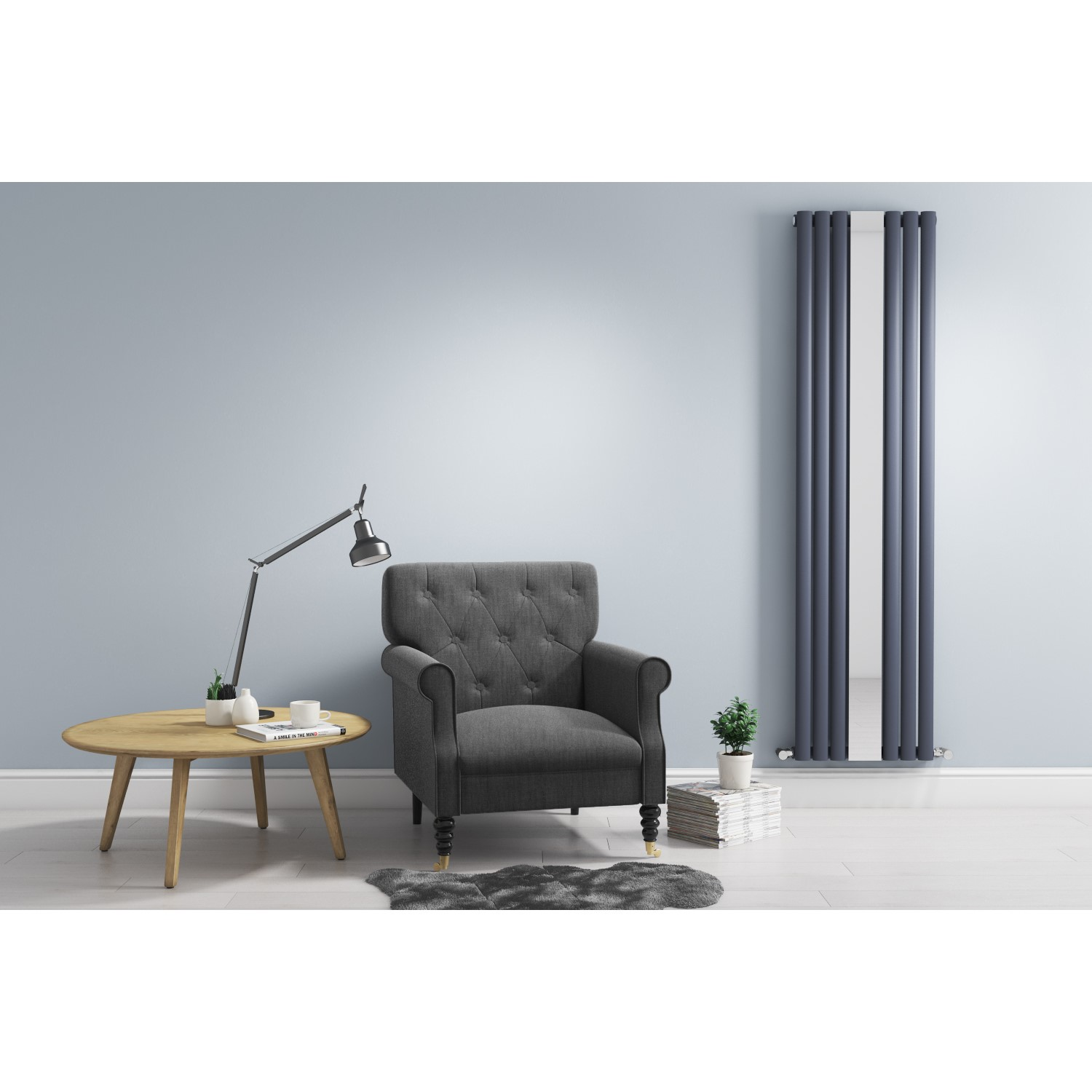 Anthracite Vertical Mirrored Radiator Living Room 1800 X 499mm Better Bathrooms