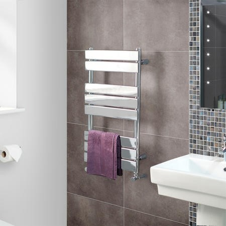 Lorenzo Beta Heat 800 x 450mm Flat Chrome Heated Towel Rail