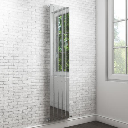 Vega 1600 x 375mm Single Flat Panel Chrome Vertical Radiator