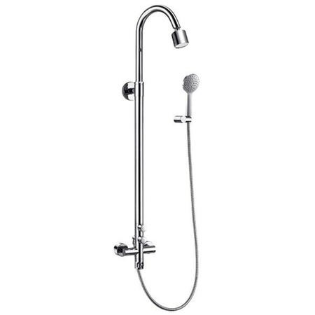 Leiro Premium Rigid Riser Shower Rail Kit with Dual Valve
