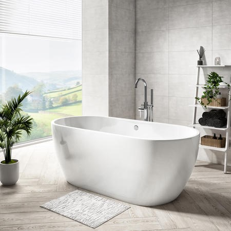 GRADE A1 - 1650 x 750 Double Ended Freestanding Bath - Lisbon Range