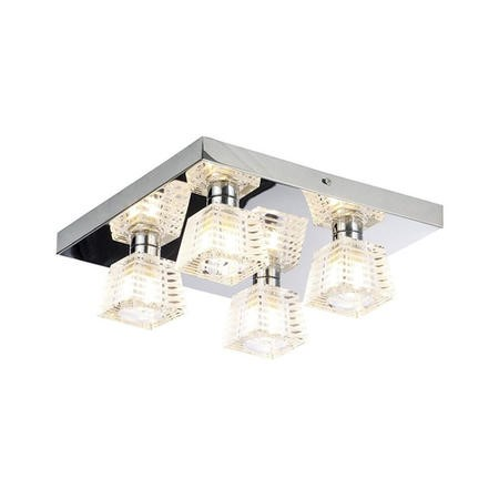 Azra Chrome Flush Ceiling Light