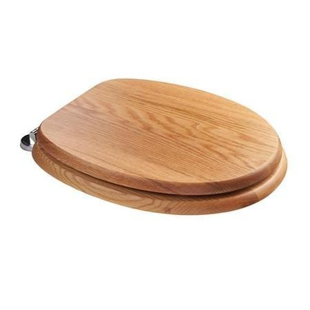 Sit Tight Bloomfield Solid Oak Toilet Seat with Chrome Hinges