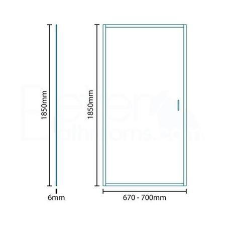 Aqualine 6mm 700 Pivot Shower Door