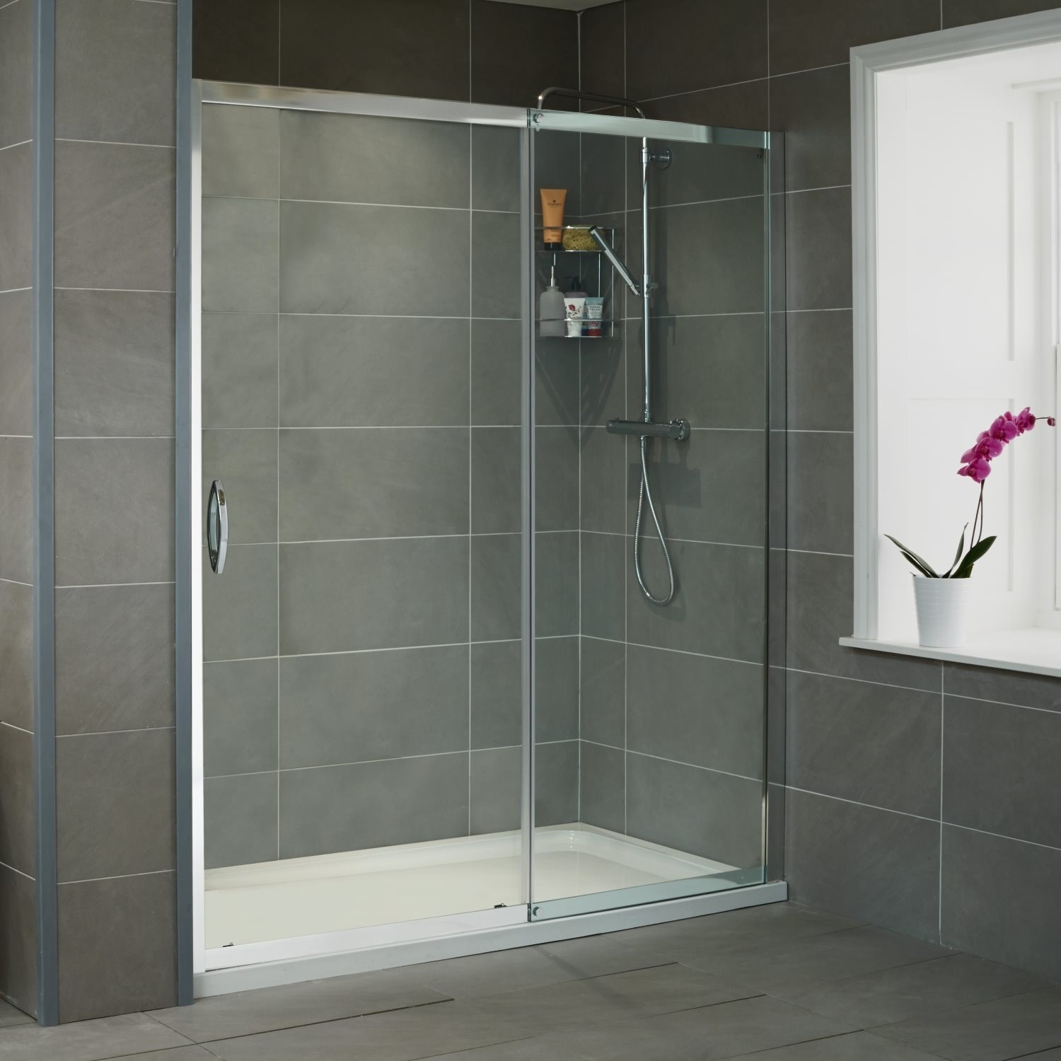 Sliding Shower Door 1100mm 8mm Glass Aquafloe Iris Range Better Bathrooms