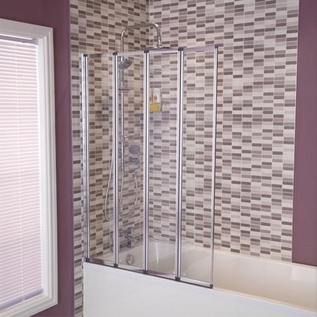 Large Straight 4 Fold Bath Shower Screen - H1400 x W1000mm