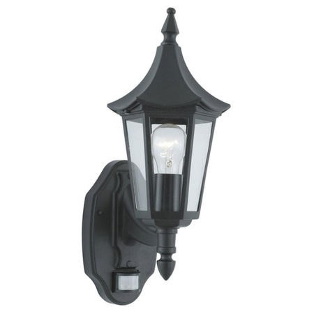 Bel Aire Black Outdoor Wall Light With Clear Glass And Sensor