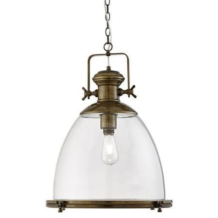 Industrial Antique Brass Pendant Light With Clear Glass Shade