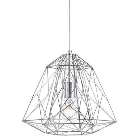 Chrome Geometric Cage Frame Pendant Ceiling Light