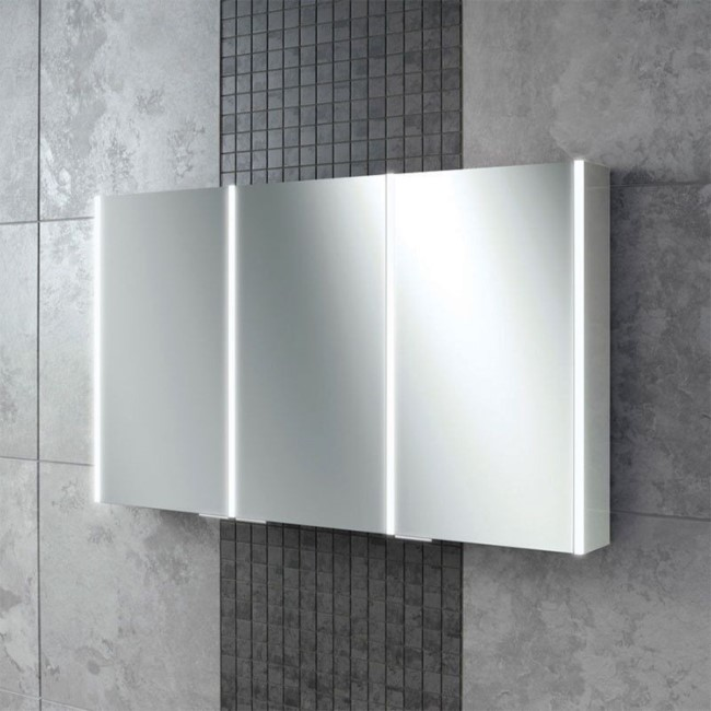 120mm Wall Hung Mirrored Cabinet - Landscape 3 Door Bathroom Storage - Perth Range