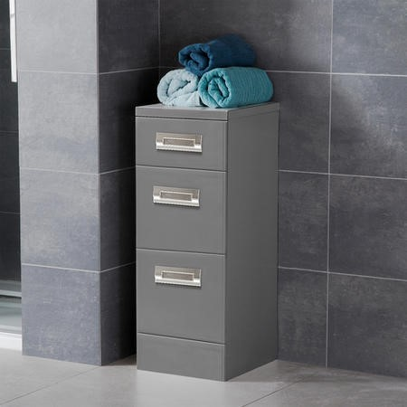 Cuba 350mm Floor Standing Storage Unit Grey 3 Drawer Unit