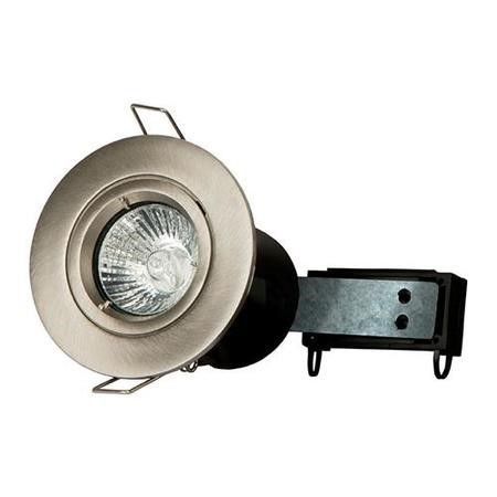 Fixed Fire Rated Downlight - Brushed Steel Twist & Lock