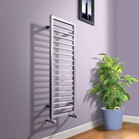 1150 x 450mm Square Chrome Heated Towel Rail - Julian Range