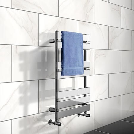 800 x 500mm Flat Chrome Heated Towel Rail - Juliet Range
