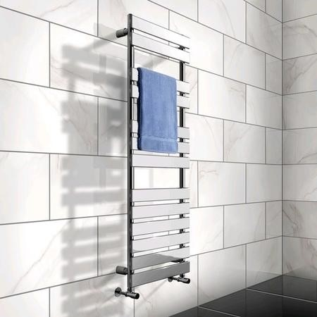 1422 x 500mm Flat Chrome Heated Towel Rail - Juliet Range