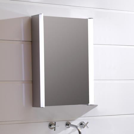 550mm Wall Hung Mirrored Cabinet - Illuminated LED Bathrooms Storage - Ora Range