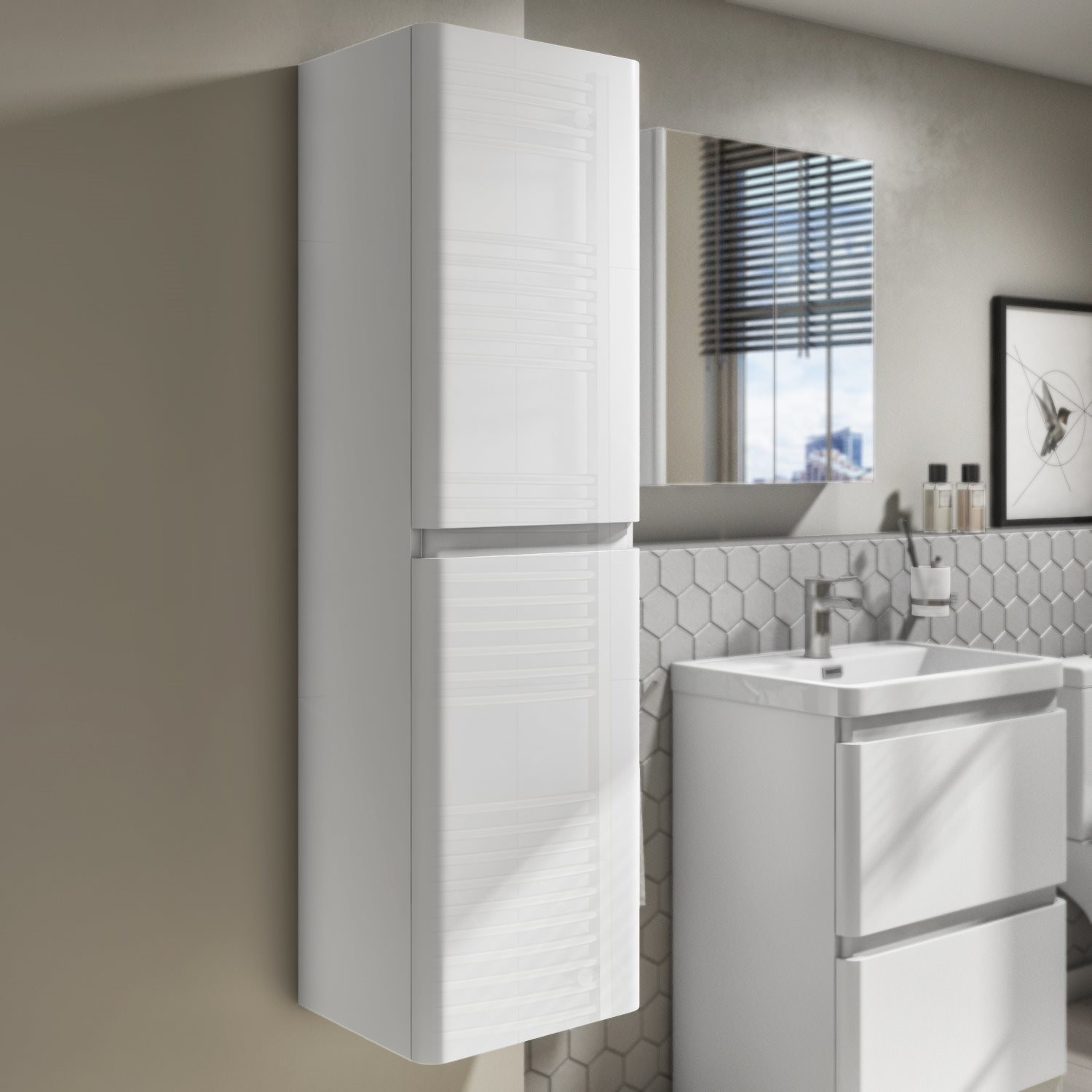 1400mm White Gloss Wall Hung Tall Boy Storage Unit Portland Better Bathrooms