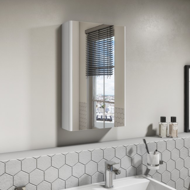 400mm Wall Hung Mirrored Single Door Cabinet White Gloss - Portland