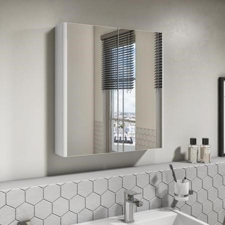 Portland 600mm Wall Hung Mirrored Cabinet Ice White Double Door