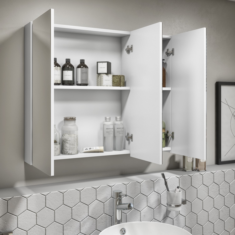 800mm Wall Hung 3 Door Mirrored Bathroom Cabinet White Gloss Portland Better Bathrooms