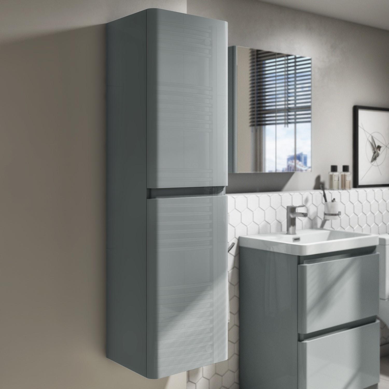 1400mm Light Grey Gloss Wall Hung Tall