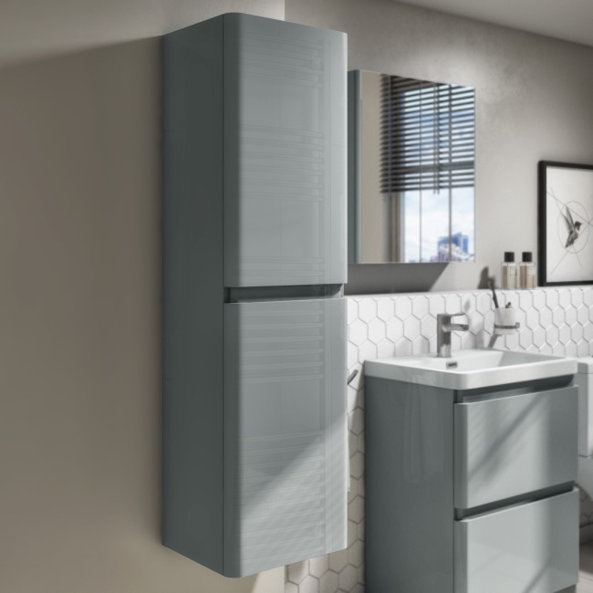 1400mm Light Grey Gloss Wall Hung Tall Boy Storage Unit - Portland