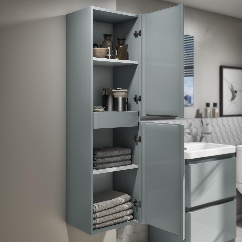 Grey High Gloss Bathroom Cabinet Wall Mounted Storage Cupboard Furniture Unit