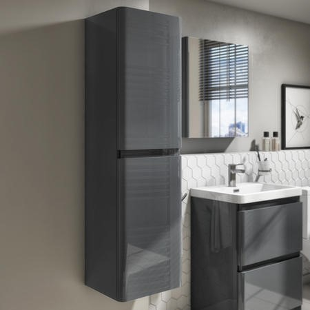 GRADE A3 - 1400mm Dark Grey Gloss Wall Hung Tall Boy Storage Unit  - Portland