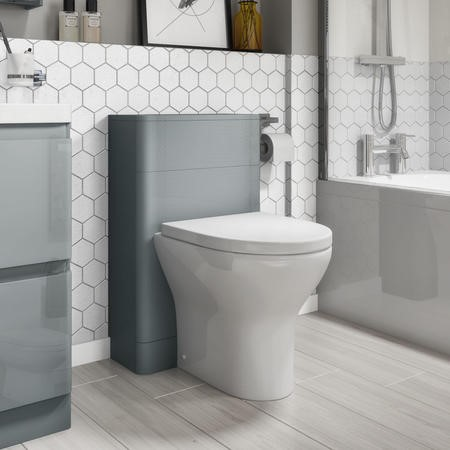 500mm Light Grey Gloss WC Toilet Unit - Portland