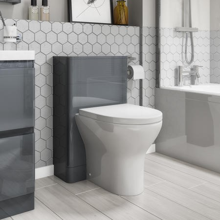 Portland 500 Storm Grey Gloss Curved Corner WC Unit