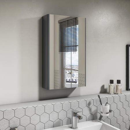 400mm Dark Grey Gloss Wall Hung Mirrored Single Door Cabinet - Portland