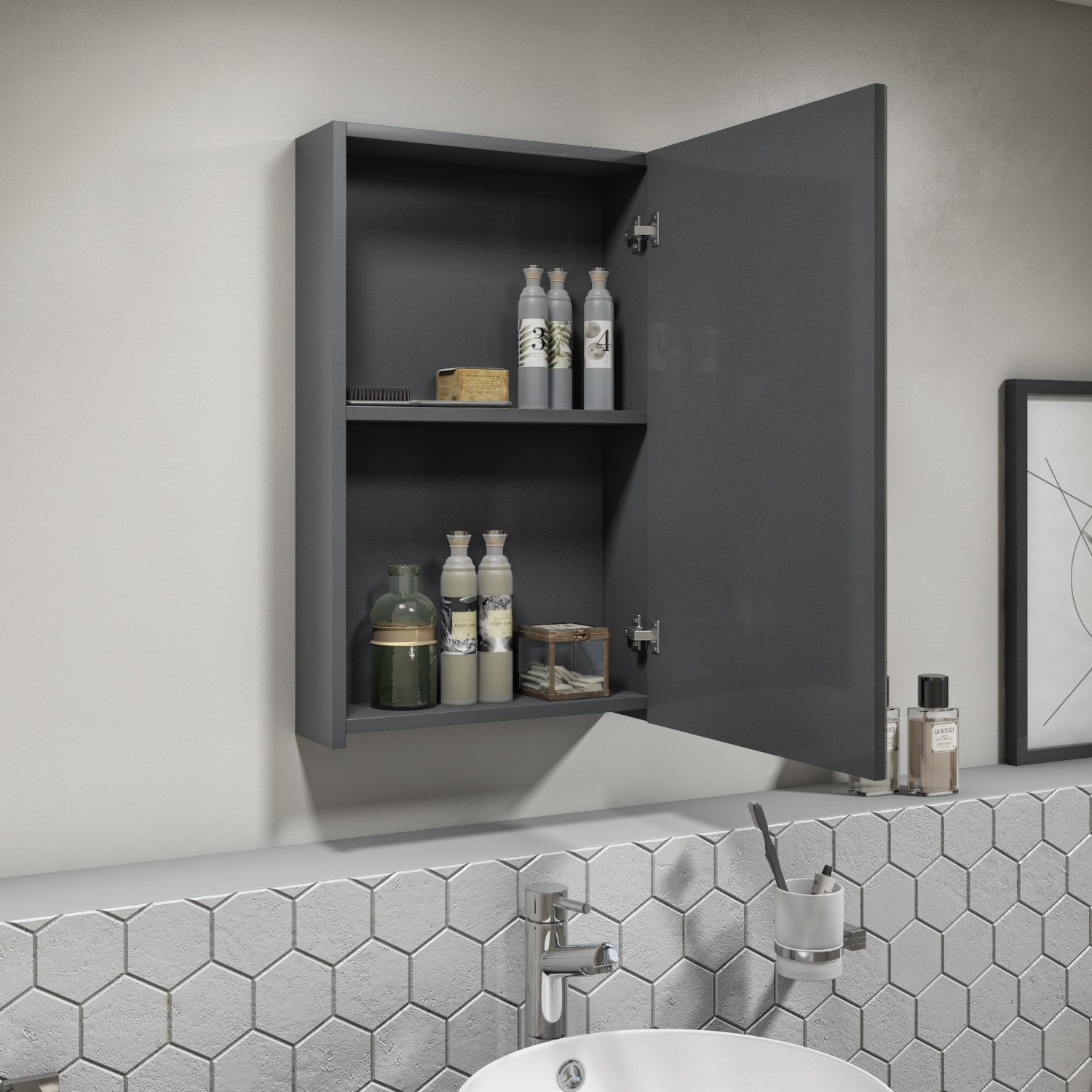 400mm Dark Grey Gloss Wall Hung Mirrored Single Door Cabinet Portland Better Bathrooms